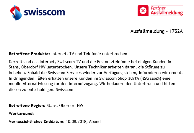 Swisscom-Meldung